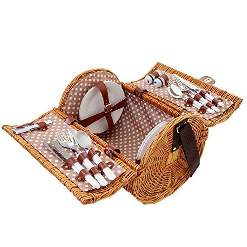 Mendler Picknickkorb-Set für 4 Personen, Picknicktasche Weiden-Korb, Porzellan Edelstahl,...