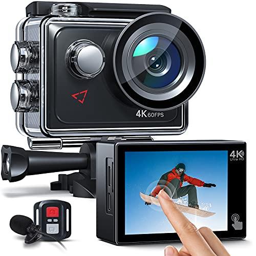 AC920 Action cam Touchscreen-Actionkamera 4K 60FPS mit 8-fachem Zoom, Doppelmikrofon,...