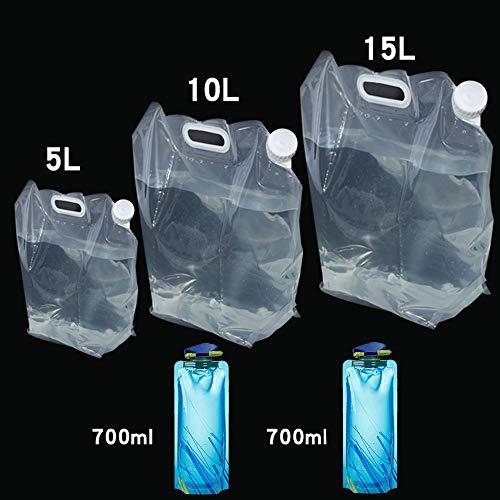 CHBOP 5 STK (5L+10L+15L+2 × 0.7L) Wassertank Camping Wasserkanister Wasserbeutel...
