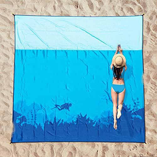 OCOOPA Stranddecke sandfrei XXL, 210x200cm Extra groß, Picknickdeck wasserdicht weiches und...