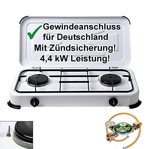 CAGO Campingkocher Gaskocher 2 flammig mit Zündsicherung inkl. Gasschlauch und Gasregler...
