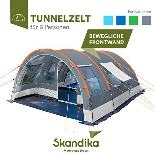skandika Tunnelzelt Helsinki für 6 Personen | Familienzelt mit teilbarer Schlafkabine,...