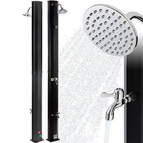 Arebos Solardusche | 35 Liter | 216 cm | mit integriertem Thermometer | Schwarz | runder...