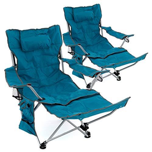 2er Set Campingstuhl Luxus Campingliege gepolstert abnehmbare Fußstütze verstellbar...