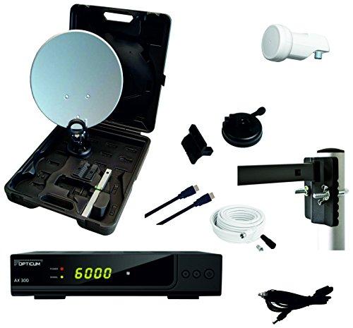 RED OPTICUM Camping Sat Anlagen Komplettset HD-TV - Mobile Satelliten-Anlage mit HD AX 300...