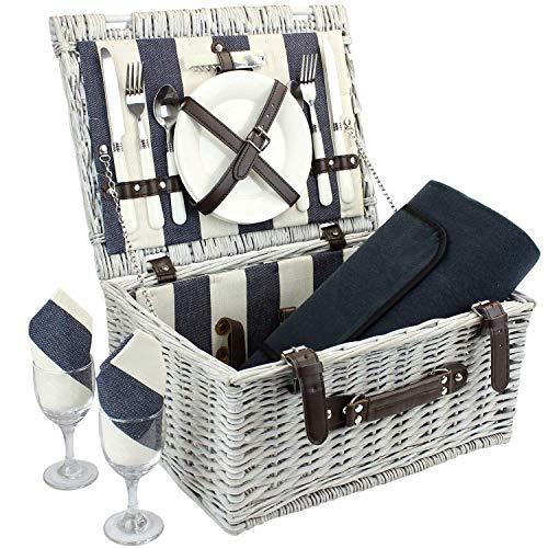 Picknickkorb für 2 Personen mit wasserdichter Decke, strapazierfähigem Picknickkorb aus...