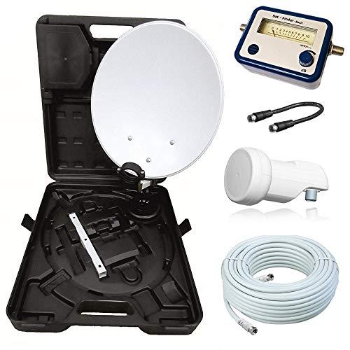 netshop 25 HD Camping Sat Anlage im Koffer 35cm Schüssel mit Opticum Single LNB 0,1dB und...