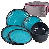 Melamin Geschirr für 4 Personen in Blau Granit-Optik 17 Teile - mit Waschschüssel - mit je 4 großen Teller,...