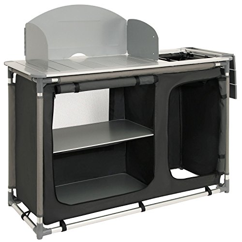 CampFeuer - Campingschrank, Campingküche mit Aluminiumgestell, Spritzschutz und Waschbecken, ca. (L) 117 cm x...