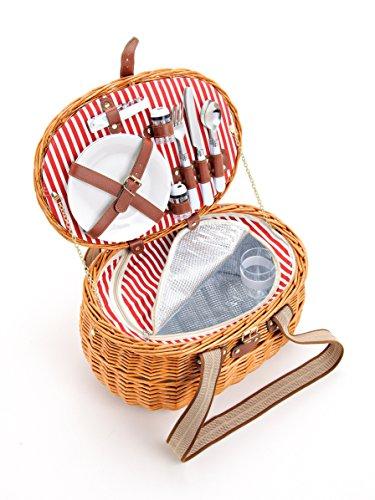 Picknickkorb für 2 Personen aus Weide - 15tlg. - Mit Kühlfach für das perfekte Essen zu...