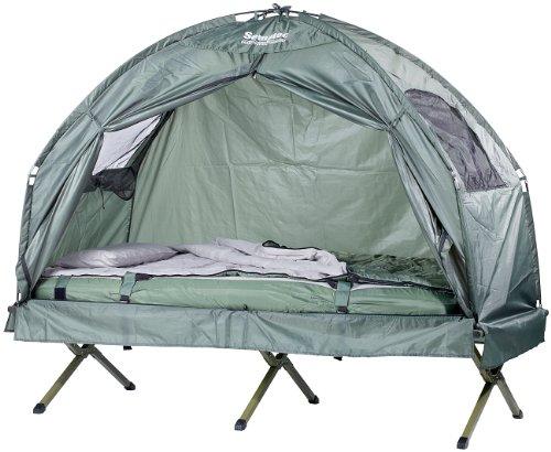 Semptec Urban Survival Technology Zeltbett: 4in1-Zelt mit Feldbett, Sommer-Schlafsack und...