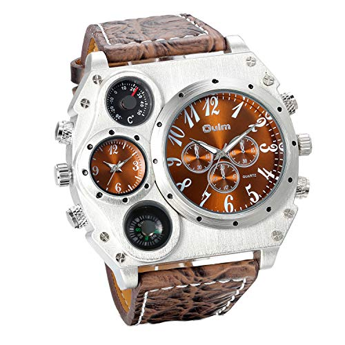 JewelryWe Herren Armbanduhr, Leder Legierung, Analog Quarz Kompass Thermometer Armband...