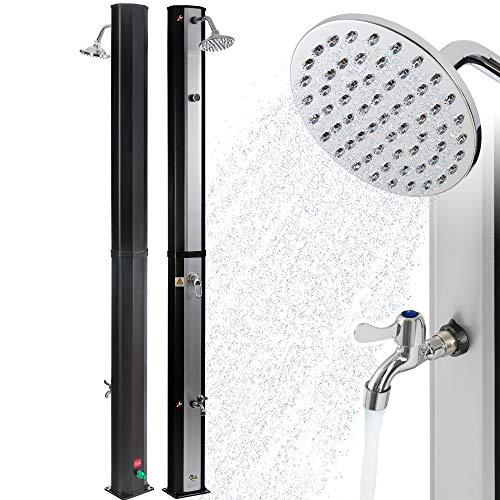 Arebos Solardusche 35 L | 216 cm | Regulierbare Wassertemperatur bis 60° | Mit Fußdusche...