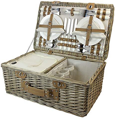 HappyPicnic Weide Picknickkorb Set für 4 Personen mit Kühlfach, Picknickkoffer mit...