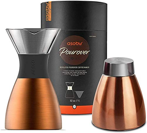 Asobu Kupferisolierter Pour Over Kaffeebereiter (900 ml), doppelwandiger Vakuum,...