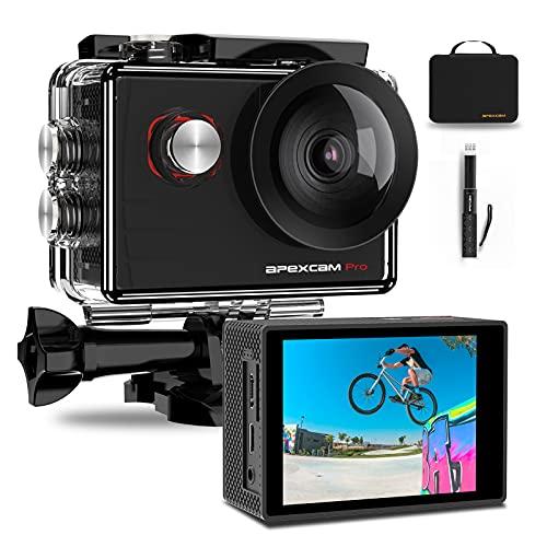 Apexcam Pro Action Cam 4K 20MP Sportkamera WiFi Unterwasserkamera 2.4G Fernbedienung...