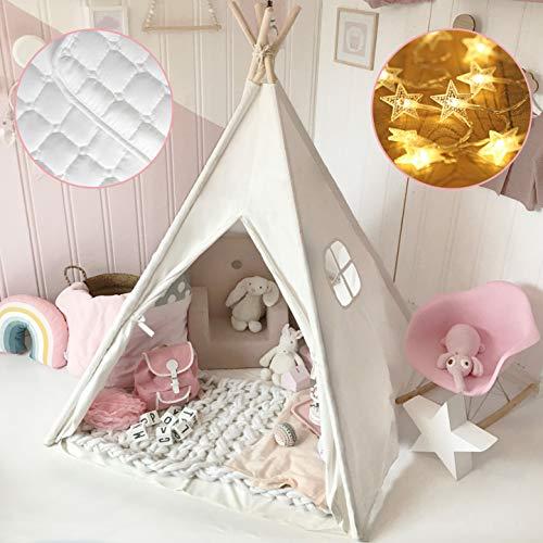 Tiny Land Tipi Spielzelt für Kinder mit Matte & Lichterkette & Aufbewahrungstasche...