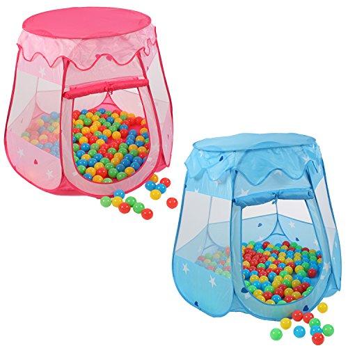 KIDUKU® Kinderspielzelt + 100 Bälle + Tasche Spielhaus Bällebad Schloss für drinnen...
