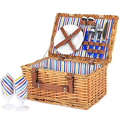 Wicker Picknickkorb für 2 Personen, Willow Hamper Basket Sets, handgefertigter...