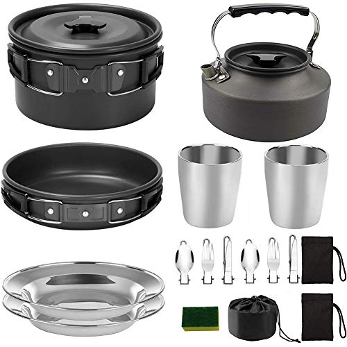 1Set Camping Kochen Sets Kochgeschirr Pot Pan Tassen Teller Gabeln Löffel Herd für...