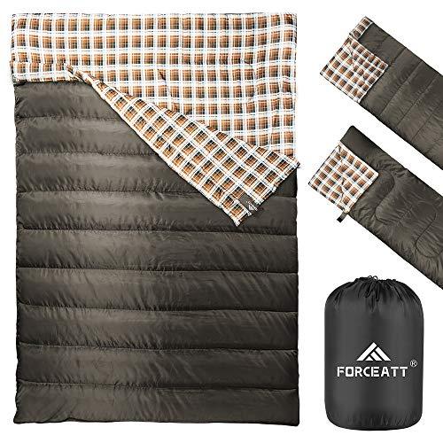 Forceatt Doppelschlafsack | Camping Schlafsäcken, wasserabweisender Campingschlafsack...