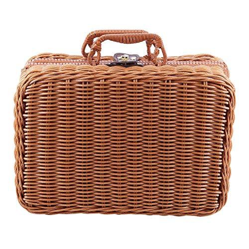 Gaoominy Reise Picknick Korb Hand Gemachte Wicker Aufbewahrungs Koffer Vintage Koffer...