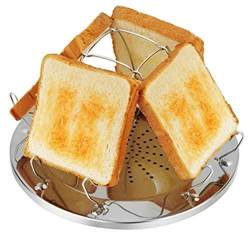 4 Scheiben Camping Toaster mit faltbarem Ständer Poröses Tablett Brot Toaster für...