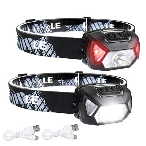 LE Stirnlampe LED Wiederaufladbar, 2000 Lux Superhell Kopflampe mit Rotlicht und 6...