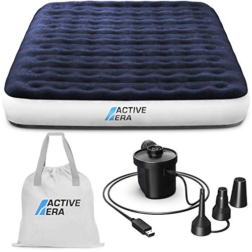 Active Era Luxus Camping Doppel Luftbett mit elekrischer Luftpumpe - Luftmatratze für 2...
