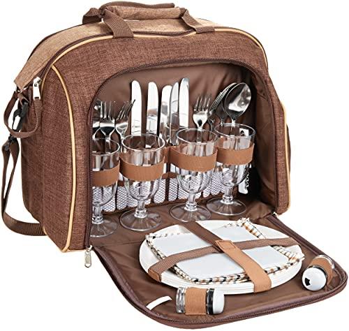 Brubaker Picknicktasche für 4 Personen mit Kühlfach - tragbar als Duffelbag oder...