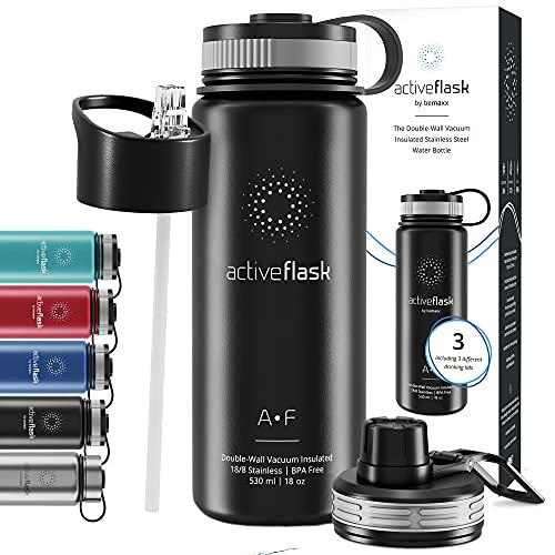Trinkflasche Edelstahl ACTIVE FLASK + Strohhalm (3 Deckel) BPA-frei, Auslaufsicher,...