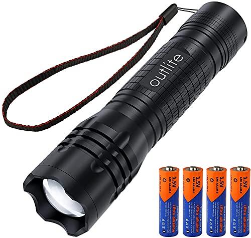 outlite 3500 Lumen LED Taschenlampe, Extrem Helle Taschenlampe mit 4 AA-Batterien (im...