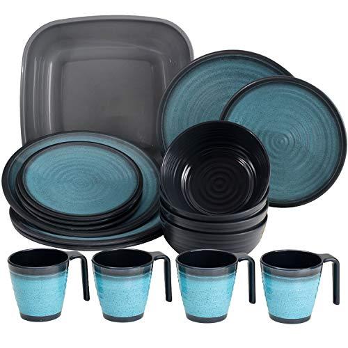Melamin Geschirr für 4 Personen in Blau Granit-Optik 17 Teile - mit Waschschüssel - mit...