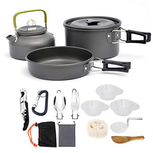 AUTOPkio Camping Kochgeschirr Set, Portable Leichte Outdoor Kochset Kochtopf Pan Set für...