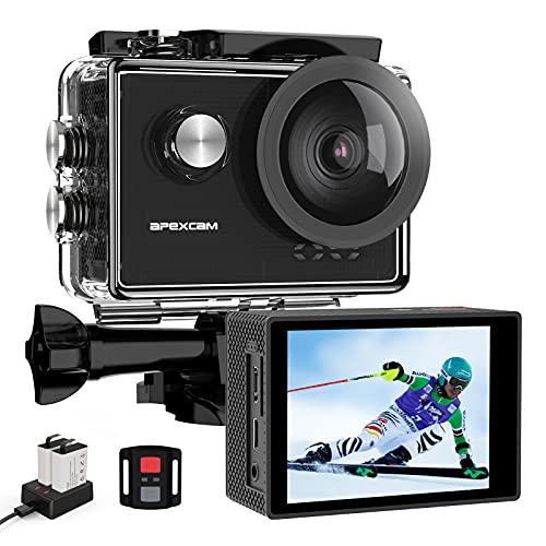 Apexcam Pro Action Cam 4K 60fps WiFi 20MP Unterwasserkamera 40M Wasserdicht 8xZoom EIS...