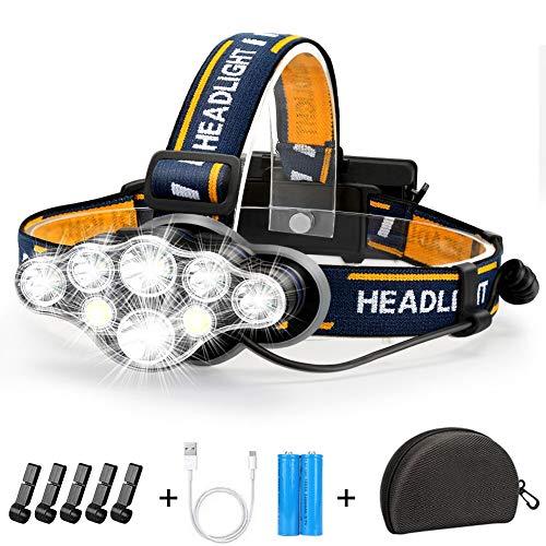 Stirnlampe, Superheller Kopflampe 18000 Lumen 8 LED 8 Modi mit Rotem Warnlicht, USB...
