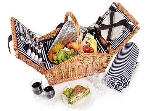 Sänger Picknickkorb Sylt 24 teiliges Picknick-Tasche Set für 4 Personen aus...