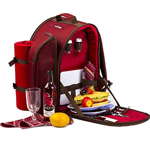 Apollowalker, roter Picknickrucksack für 2Personen, Korb mit Kühltasche, inkl....