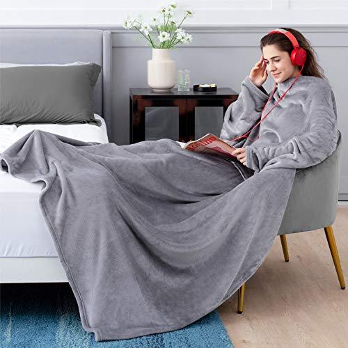 BEDSURE Ärmeldecke hellgrau Kuscheldecke mit Ärmeln - 170x200 cm, Sweatshirt Decke...