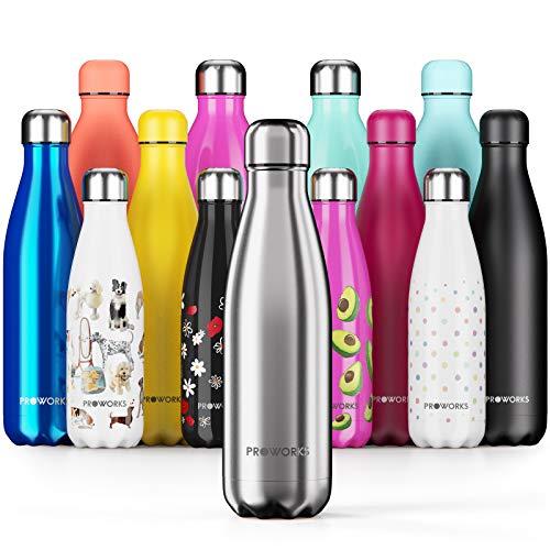 Proworks Edelstahl Trinkflasche | 24 Std. Kalt und 12 Std. Heiß - Premium Vakuum...