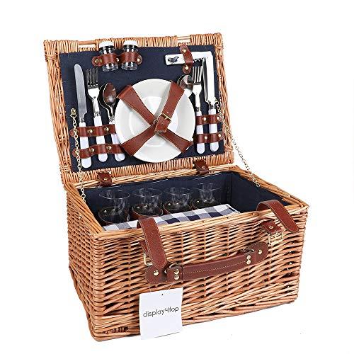 Display4top Deluxe 4 Personen Traditional Wicker Picknickkorb Wicker Hamper - Premium Set...