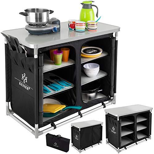 KESSER® Campingschrank, Campingküche mit Aluminiumgestell, Spritzschutz und Tragetasche...