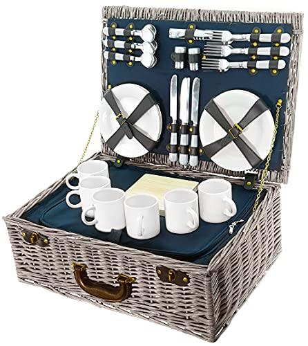BEM: Picknickkorb, Weidenkorb, Picknick-Geschirr Set für 6 Personen mit Kühltasche, 40L...