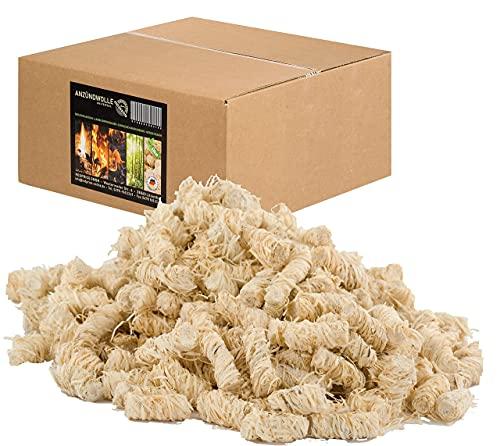 REDPRICE® Anzündwolle (10KG) Premium 100% ÖKO-Kaminanzünder Grill-Smoker-Ofen...
