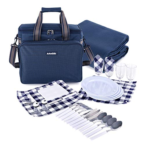 Arkmiido Picknickrucksack, Picknickkorb 4 Personen, 4 Picknickanzug-Isolationstaschen mit...