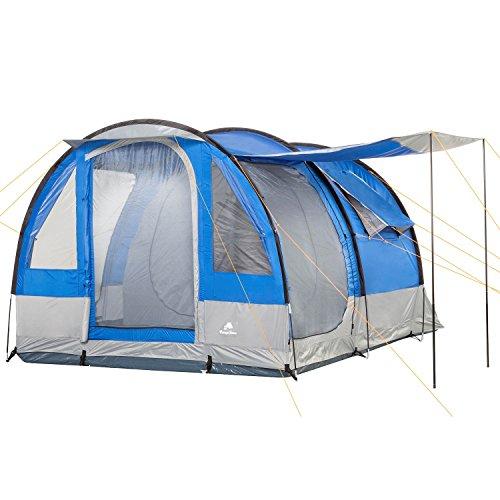 CampFeuer Campingzelt Smart für 4 Personen | Großes Familienzelt mit 3 Eingängen und...