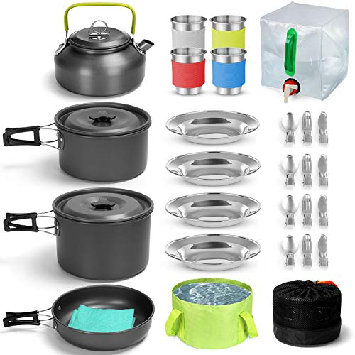 Odoland Camping Geschirr Set 29 Teiliges Camping Kochset inkl. Faltbare Kochgeschirr für Camping Besteck...