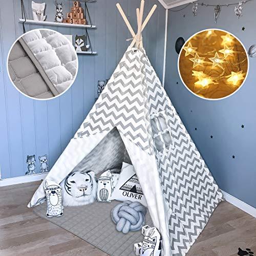 Tiny Land Tipi Spielzelt für Kinder Kinderzimmer mit Gepolsterter Decke & Lichterkette-...