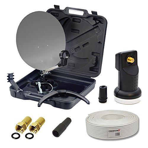 PremiumX HD Camping-Sat-Anlage im Koffer Schüssel mit Digital Single LNB 0,1dB inkl. 10m...