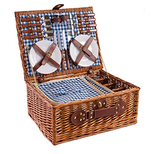 eGenuss Handgefertigtes Picknickkorb für 4 Personen - Inklusive Edelstahlbesteck,...